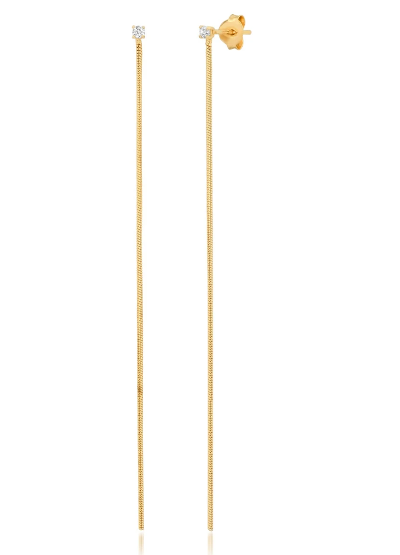 Jen Hansen Single Thread Earring, Gold