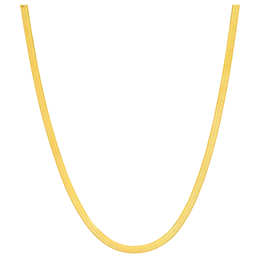 Jen Hansen Thin Herringbone Chain Necklace, Gold