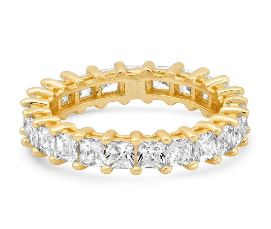 Jen Hansen Princess Cut Eternity Ring, Gold