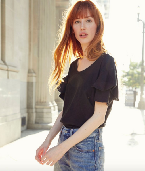 Nation LTD Anya Ruffle Sleeve Crew Tee in Black