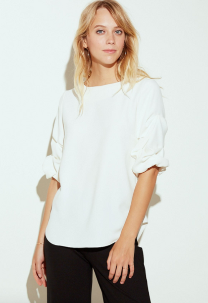 Amanda Uprichard Oregon Top in Ivory