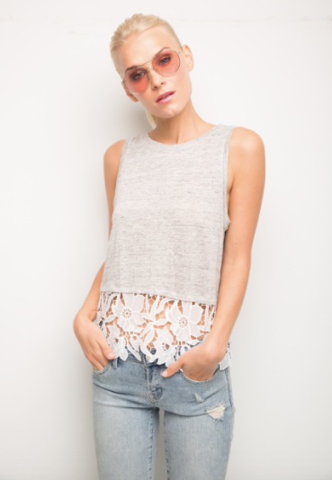 Generation Love Mila Lace Top in Grey
