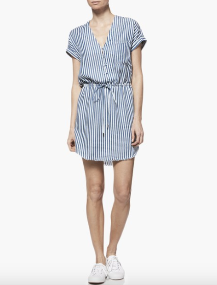 Paige Haidee Dress in White/Blue Bell Stripe