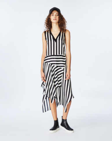 Nicole Miller Jax Asymmetrical Dress in Black and White