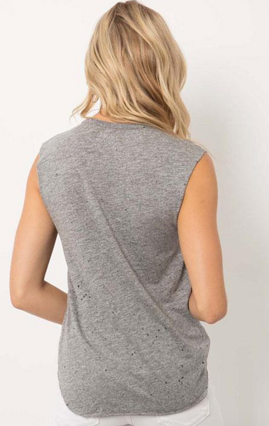 Feel the Piece Cut Off Tank (Smile) in Heather Grey