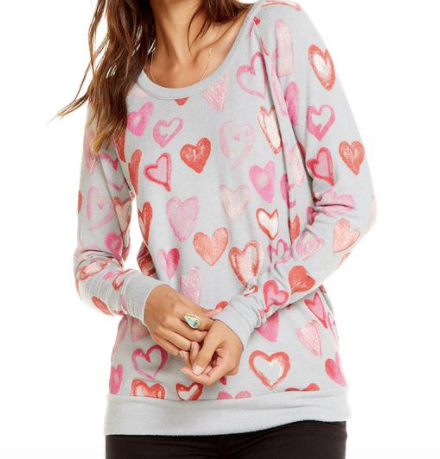 Chaser Painted Hearts Pullover in Misty