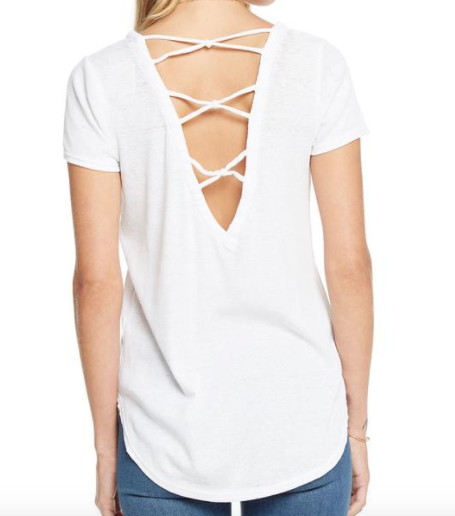 Chaser Vintage Rib Criss Cross Knot Back Shirttail Tee in White