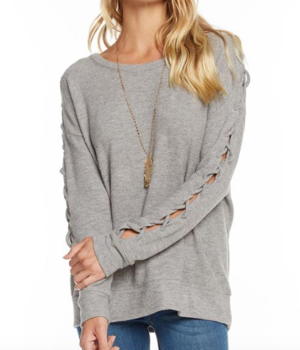 Chaser Love Knit Sleepwear Lace Up Dolman Drop Shoulder Pullover in Heather Grey