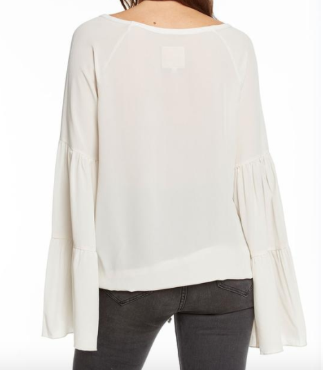 Chaser Silk Boho Top with Drawstring Waist in Bone