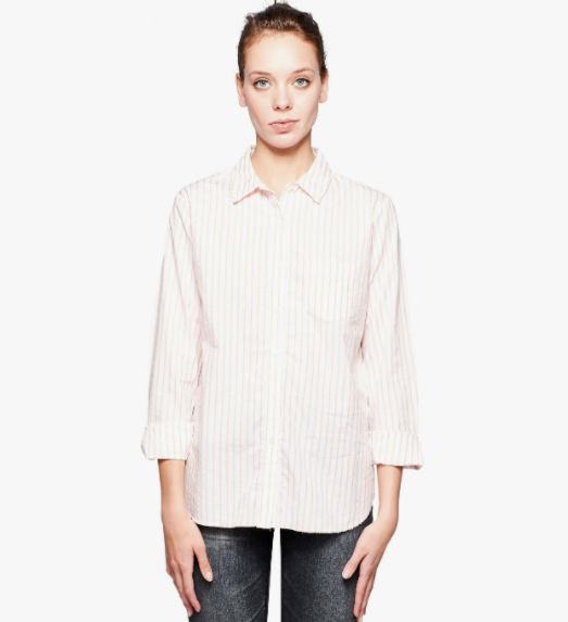 Stateside Raw Edge Button Down in Sorbet Stripe