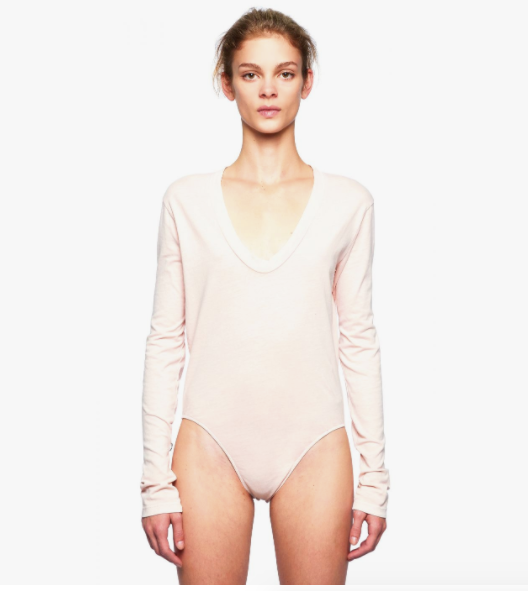 Stateside Jersey Scoop Neck Bodysuit in Peach