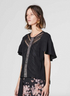 Once Was Getty Short Sleeve Lace Trim Top in Black