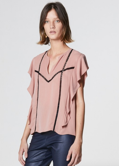 Once Was Janis Lace Insert Short Sleeve Top in Peony