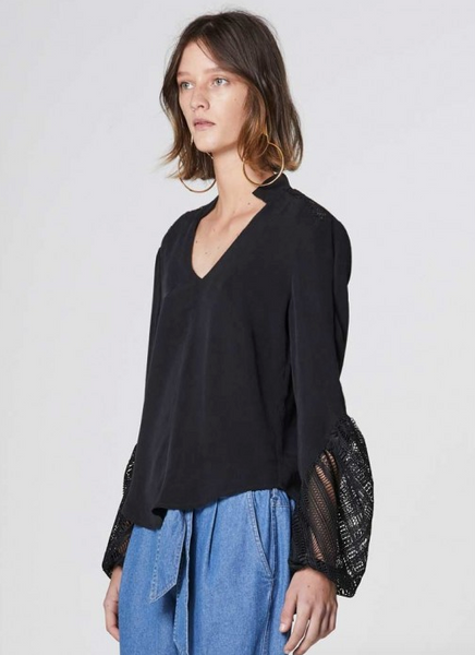 Once Was Getty Lace Sleeve Top in Black