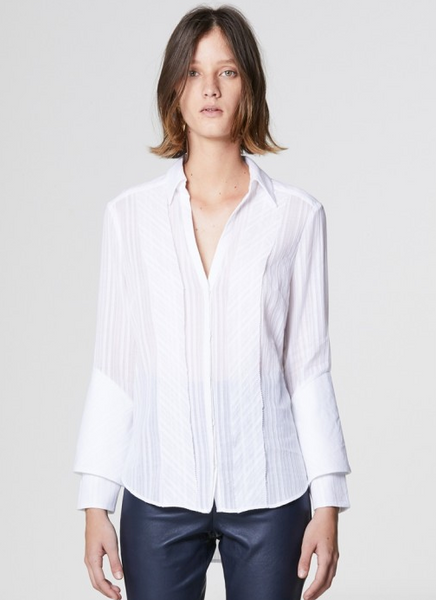Once Was Bias Trim Double Cuff Shirt in White