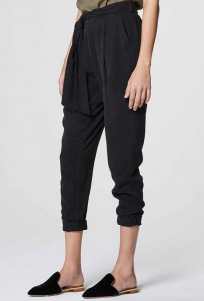 Once Was Janis Relaxed Tie Waist Pant in Black