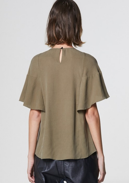 Once Was Getting Short Sleeve Lace Trim Top in Olive