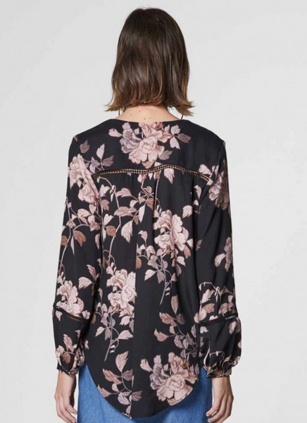 Once Was Sabina Lace Insert Wrap Top in Bohem Floral