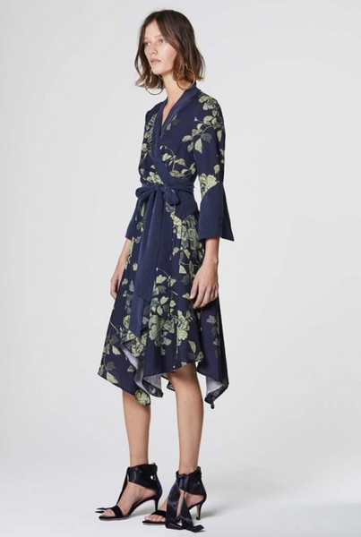 Once Was Alida Double Cuff Wrap Dress in Midnight Floral