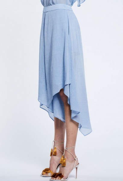 Once Was Clifton Wrap Front Cullotte in Chambray