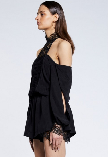 Once Was Rhodes Lace Off the Shoulder Romper in Black