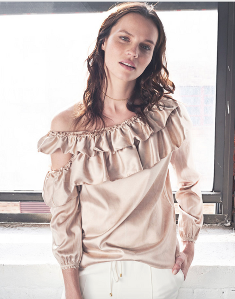 ROI Off the Shoulder Tiered Ruffle Top in Mocha