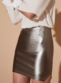 Krisa Mini Skirt in Platinum