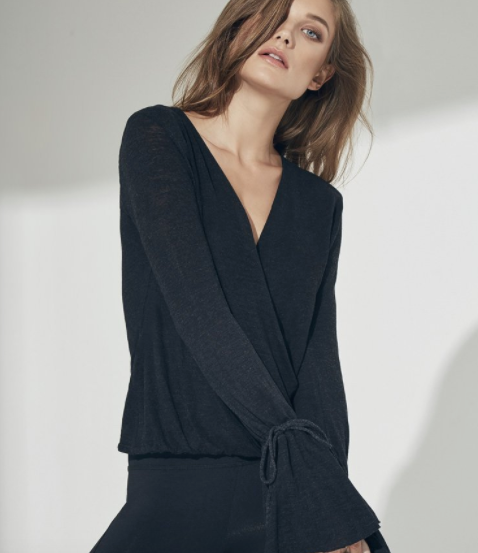 Lanston Surplice Ruffle Long Sleeve in Black
