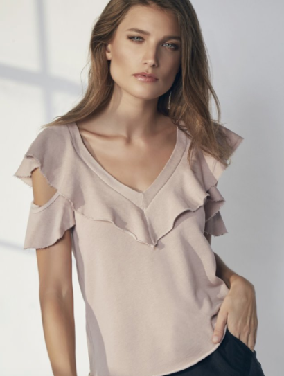 Lanston Cold Shoulder Ruffle Tee in Blush