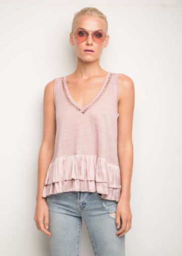 Generation Love Ruby Ruffle Top in Circle Old Rose