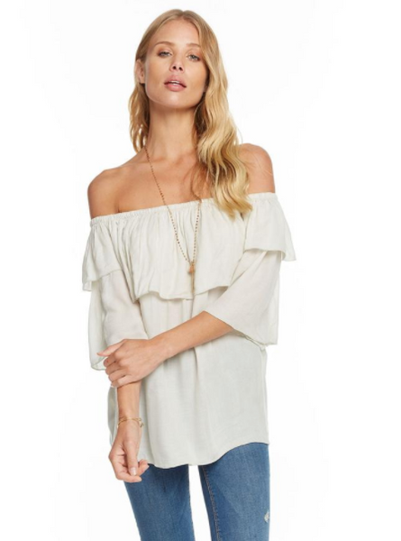 Chaser Heirloom Gauze Off Shoulder Boho Top in Bone