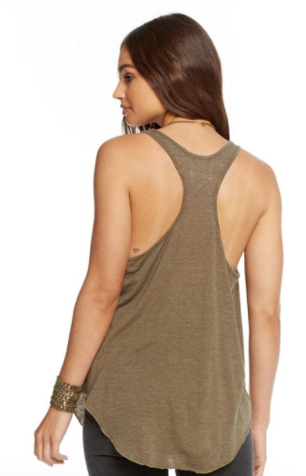 Chaser Vintage Jersey Cowl Neck Racer Back Shirttail Tank in Mountain