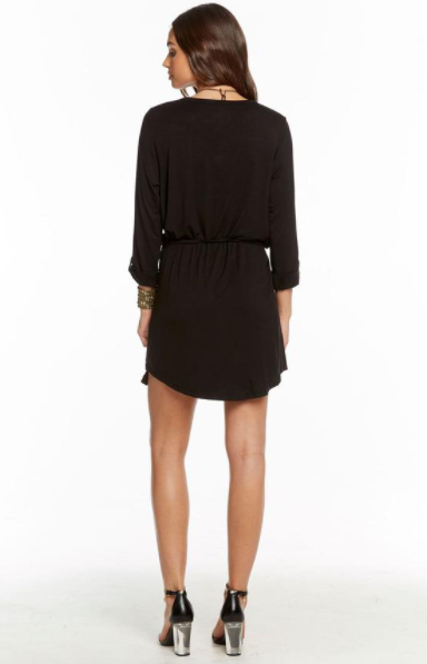 Chaser Cool Jersey Rolled Cuff Shirttail Henley Dress in True Black