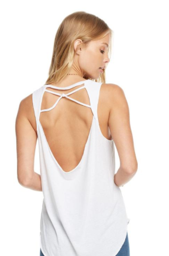 Vintage Jersey Knotted Drape Back Shirttail Tank in White