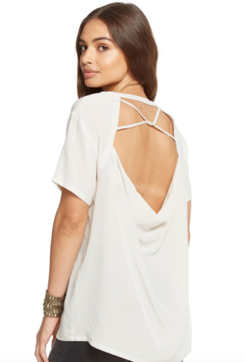 Chaser Silk Short Sleeve Knotted Drape Back Tee in Bone