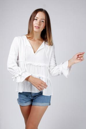 Central Park West Bluebell Tiered L/S Top in White