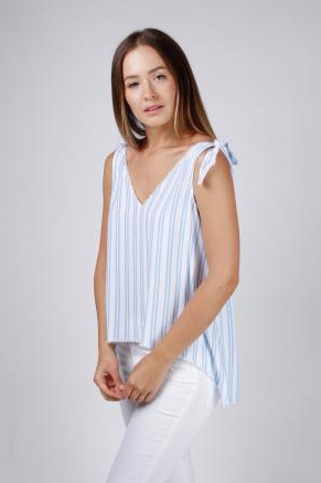 Central Park West Bluebell Tank in Blue Stripe