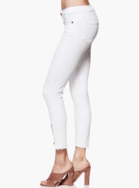 Paige Verdugo Crop Angle Zip and Raw in Crisp White