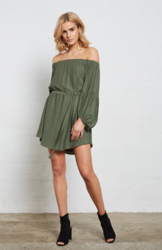 Shilla Superior Off Shoulder Dress in Army Green