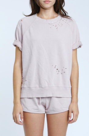 Pistola Raine French Terry Short Sleeve Shirt in You're Blushing