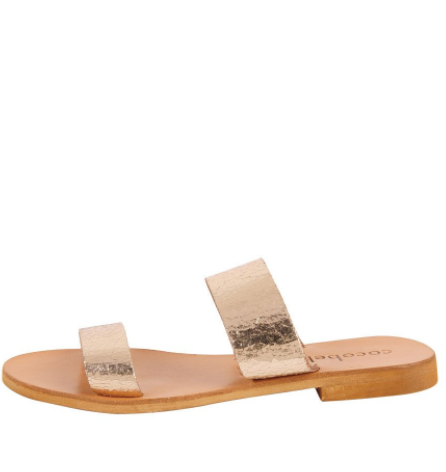 Cocobelle Leather Slide Sandal in Cracked Gold