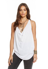 Chaser Vintage Jersey Cowl Neck Racer Back Shirttail Tank in White