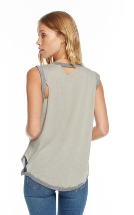 Chaser Blocked Jersey Deconstructed Roll Sleeve Scoop Neck Muscle in Moon and Streaky Grey