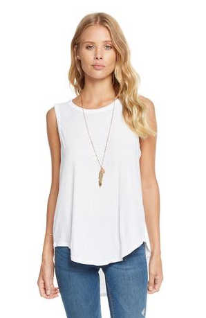 Chaser Gauzy Cotton Jersey Knot Back Hi Lo Shirttail Tank in White