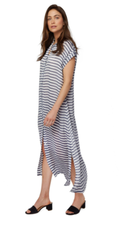 Rachel Pally Rayon Shirt Dress in Blue/White Stripe