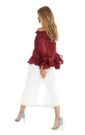 Misa Mirah Off the Shoulder Ruffle Satin Top in Cranberry
