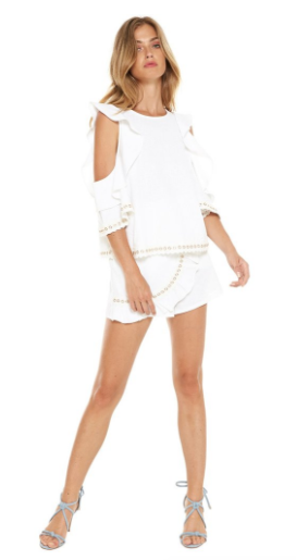 Misa Aline Flutter Sleeve Top with Lace & Gold Detail in White