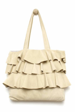 Corey Lynn Calter Ruffle Suede Tote in Camel