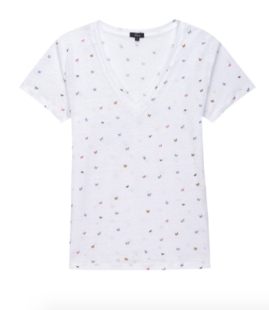 Rails Cara Tee in Rainbow Butterflies White