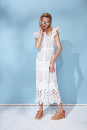 Hunter Bell Scarlett White Lace Dress in White